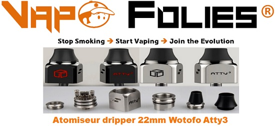 Atomiseur dripper 22mm Wotofo Atty3 vapofolies